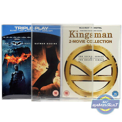 3 x Blu Ray Box Protectors 0.5mm PET PLASTIC DISPLAY CASE Double Blu Ray Box Set