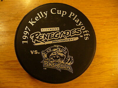 ECHL '97 Kelly Cup Playoffs Renegades Vs Ice Pilots Hockey Puck Collect Pucks