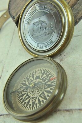 Vintage Style Brass Compass in Case Liburnia Warship Nautical Marine Navigation
