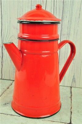 Vintage Enamel Ware COFFEE MAKER Red And Black Good Condition Collectable