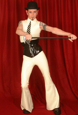 Breathless Latex/Rubber White Men's Flared Trousers Small 30inch Waist