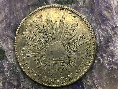 REPUBLIC OF MEXICO 8 REALES SILVER 1848 Zs OM ZACATECAS MINT
