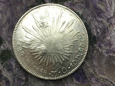 REPUBLIC OF MEXICO 8 REALES SILVER 1855 Zs MO ZACATECAS MINT UNUSUAL CHOP MARKS