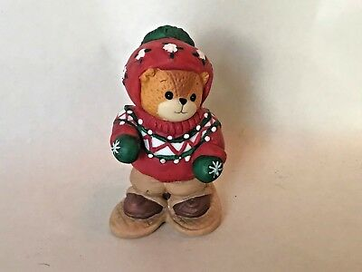 1994 Lucy & Me Teddy Bear Figurine - Snow Shoes Skiing Winter Bear