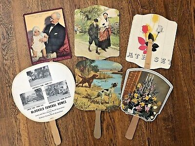 Lot 6 Vintage Antique Hand FANS Advertising Cardboard Dogs Grocery Funeral Home