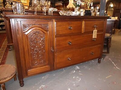 A Lovely Edwardian Rustic Mahogany Low Carved Sideboard C1910