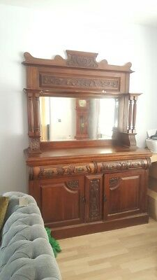Antique Edwardian Mahogany Dark Wood Sideboard / Chiffonier - S53