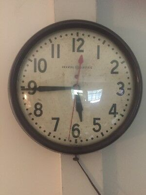 """Vintage GENERAL-ELECTRIC Wall Clock School Industrial Red Dot 14 1/2"""" Round"""