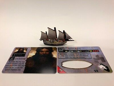 Matuku Schooner from WizKids Pirates of the Mysterious Islands with Linked Crew