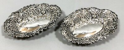 Antique sterling silver pair 2 embossed pierced trinket dish bowls Green Man