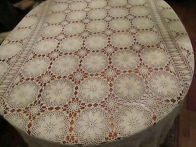 """Vintage hand made Ecru crochet lace tablecloth 98 x 64"""" rectangle"""