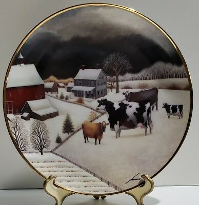 "Cows In The Winter By Lowell Herrero Franklin Mint Certified Porcelain 8"" Plate"