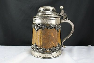 Antique Wood and Silver Plated Beer Stein St Louis Silver Co-BPOE Elks Lodge