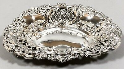 Antique sterling silver embossed pierced trinket dish ring bowl heart shaped