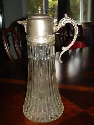 Vintage Silver Plate/Glass Water Pitcher
