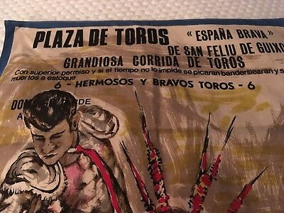 Bull fighting heavy fabric poster. Vintage.
