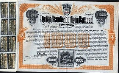 $1000 Rio Grande Southern Railroad Co Gold Bond, 1890. Unissued,plus 100 Coupons