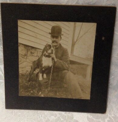 Vintage Photograph with Man with Boston Terrier Dog