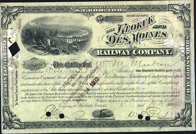 Keokuk And Des Moines Railway Co, Iowa, 1899, Issued Stock Certificate