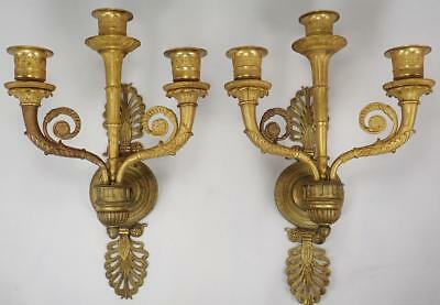Fabulous PAIR Antique French Empire Gilt Bronze Candle Light Wall Sconces c 1870