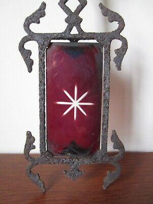 ANTIQUE GLASS-TAIL IRON WEATHERVANE w/ STARBURST ETCHED RUBY RED GLASS