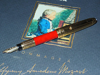 New Montblanc Meisterstuck W.A. Mozart Solitaire Fountain Pen Red Coral/Gold