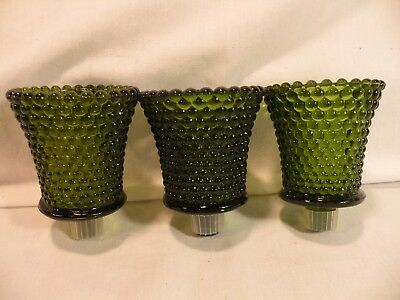 3 Homco Glass Votive Cup Green Hobnail With Rubber Grommets Home Interiors