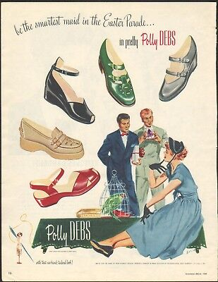1949 Vintage Magazine AD POLLY DEBS Shoes Smartest Maid int eh Easter Parade