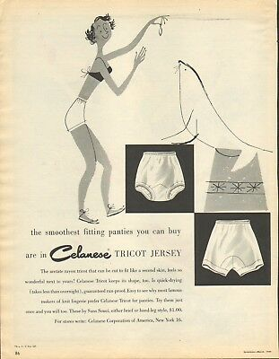 1949 Vintage Magazine AD CELANESE Tricot Jersey Ladies Panties the smoothest