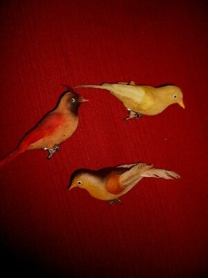Lot Vintage Clip On Birds With Feathers Christmas Tree Ornaments