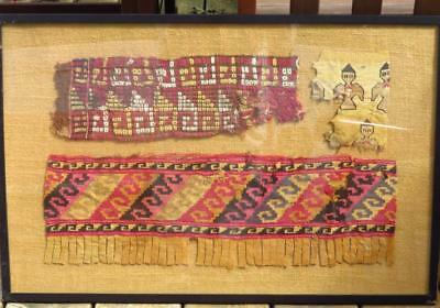 Antique 19th C Islamic Bedouin Tent Decoration Faces Textile Fabric Framed