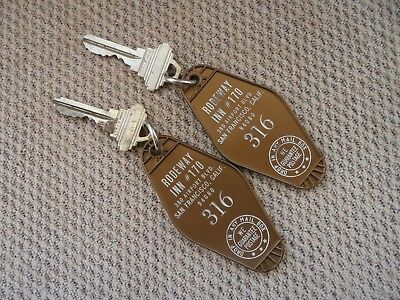 2 Vintage Rodeway Inn Hotel Keys & Fob San Francisco, CA.  rooms #316