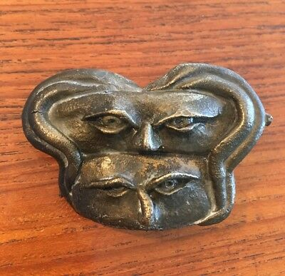 Modernist Cast Bronze Belt Buckle Clarence Harris Nw Artist Abstract Faces 3/20