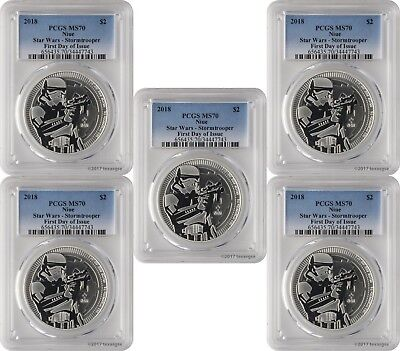 2018 $2 Niue Star Wars Stormtrooper 1oz .999 Silver Coin PCGS MS70 FD Lot of 5