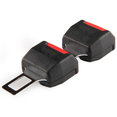 2pcs Black Universal Auto Car Safety Seat Belt Buckle Extension Alarm Extende