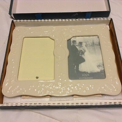 "Lenox Porcelain Double Picture Wedding Frame Fits Holds ( 2) 5""x7"" Pictures"
