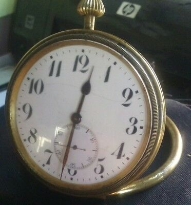 Vintage Gindrat brass clock 15 jewels Swiss with handle