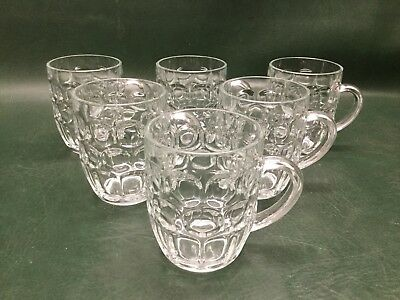 Set of 6 Ravenhead Glass Dot Dimple Pint Beer Mugs Made in England