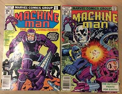 Marvel Comics MACHINE MAN #1 & #6 Cover By Jack Kirby 1978 VF/F
