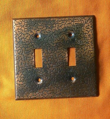 Mid Century Vintage Copper Tone Textured Double  Light Switch Cover Plate