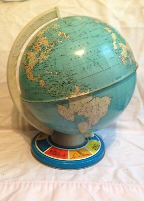 Vintage Metal tin Globe The Ohio  Art earth world countries Geography landmark