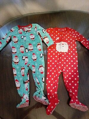 18 Months Christmas Fleece One Piece Pajama lot Carter's excellent preowned cond