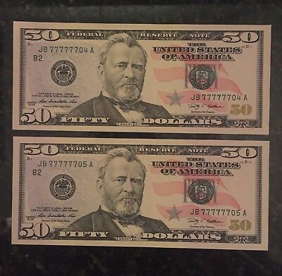 (2) 2009 $50 Fancy Federal Reserve Notes Near Solid JB 77777704 05 Consecutive