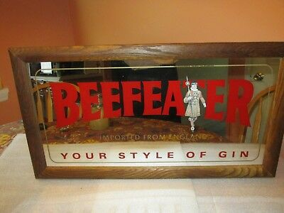 """BEEFEATER GIN Mirror imported from England """"Your style of GIN"""" (AWESOME)"""