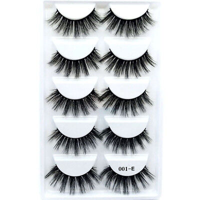 5 Paires Faux Mink Lashes Longue Faux Cils Cross Messy Dense Naturel Maquillage