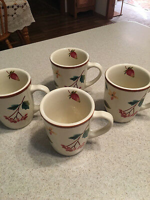 "Set of 4 Longaberger Pottery Berry Fruit Medley 4 1/2"" Tall Mugs Cups New"