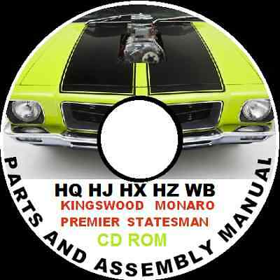 Holden Hq Hj Hx Hz Wb Monaro Gts 308 350 Parts Restoration Assembly  Cdrom