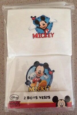 Boys NEW White DISNEY MICKEY MOUSE  VESTS Cotton  18 - 24 months  2 Vests