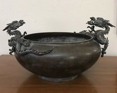 Amazing Antique 19th Century Japanese Bronze Bowl w Applied Dragons Large