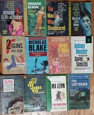 Vintage Mystery Paperbacks Books Lot of 12 Various Authors